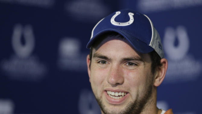 Indianapolis Colts' Andrew Luck responds to a question during a news conference at the Colts complex Wednesday, Jan. 2, 2013, in Indianapolis. The Colts will play the Baltimore Ravens in a  AFC Wild Card playoff game Sunday. (AP Photo/Darron Cummings)