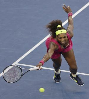 Serena Williams returns a shot to Italy's Sara Errani during a semifinal match at the 2012 US Open tennis tournament, Friday, Sept. 7, 2012, in New York. Williams won the match. (AP Photo/Mike Groll)