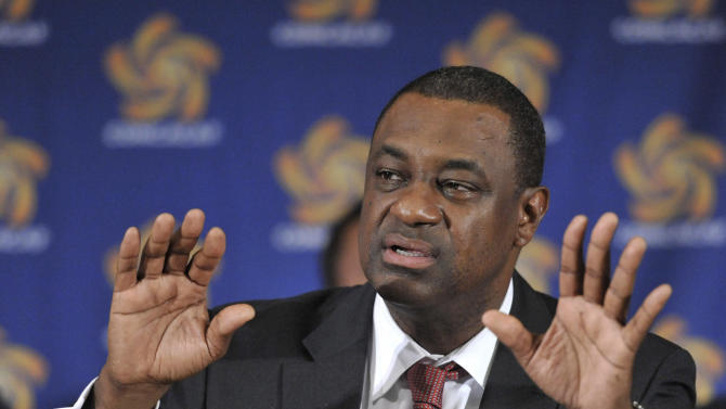 FILE - This May 23, 2012 file photo shows CONCACAF  president Jeffrey Webb speaking at the CONCACAF presidential election in Budapest, Hungary. Webb is among the soccer officials that were arrested and detained by Swiss police on Wednesday, May 27, 2015, at the request of U.S. authorities after a raid at Baur au Lac Hotel in Zurich.  (Szilard Koszticsak/MTI via AP, File)