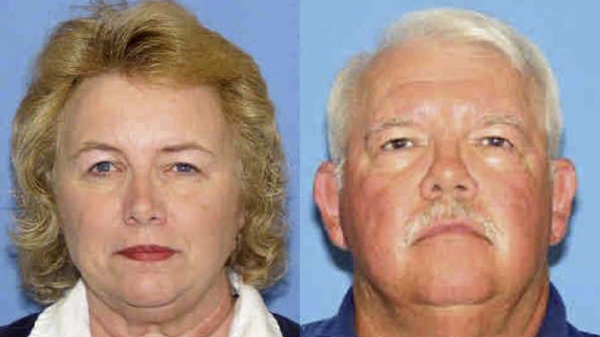 FILE - This combination of undated photos released by the New Mexico Department of Public Safety shows shooting victims Linda and Gary Haas of Tecumseh, Okla. On Monday, Aug. 19, 2013, the last of the three people charged with killing Gary and Linda Haas of Tecumseh, Okla., goes to trial for their 2010 carjacking and shooting deaths. (AP Photo/New Mexico Department of Public Safety, File)