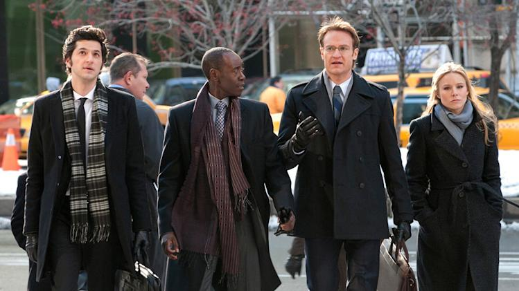 "Ben Schwartz as Clyde Oberholt, Don Cheadle as Marty Kaan, Josh Lawson as Doug, and Kristen Bell as Jeannie Van Der Hoovenn in ""House of Lies."""