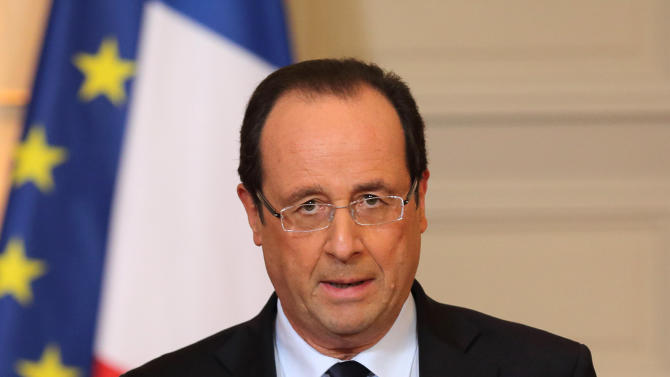 "France's President Francois Hollande delivers a speech on the situation in Mali at the Elysee Palace in Paris, Friday, Jan. 11, 2013. French forces began backing Malian soldiers Friday in their fight against radical Islamists, drawing the former colonial power into a military operation to oust the al-Qaida-linked militants nine months after they seized control of northern Mali.  French President Francois Hollande said  that the operation would last ""as long as necessary"" and said it was aimed notably at protecting the 6,000 French citizens in Mali. Kidnappers currently hold seven French hostages in the country.  (AP Photo/Philippe Wojazer, Pool)"