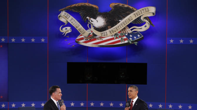 U.S. Republican presidential nominee Romney and U.S. President Obama speak directly to each other during the second U.S. presidential debate in Hempstead