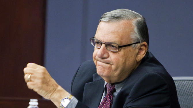 FILE - In this Oct. 18, 2011 file pool photo, Maricopa County Sheriff Joe Arpaio testifies during the State Bar of Arizona's ongoing disciplinary hearings against former Maricopa County attorney Andrew Thomas and two assistants, at the Arizona Supreme Court in Phoenix. According to some current and former police officers, hundreds of sex-crimes investigations were allegedly mishandled by Arpaio's office. (AP Photo/Jack Kurtz, Pool, File)