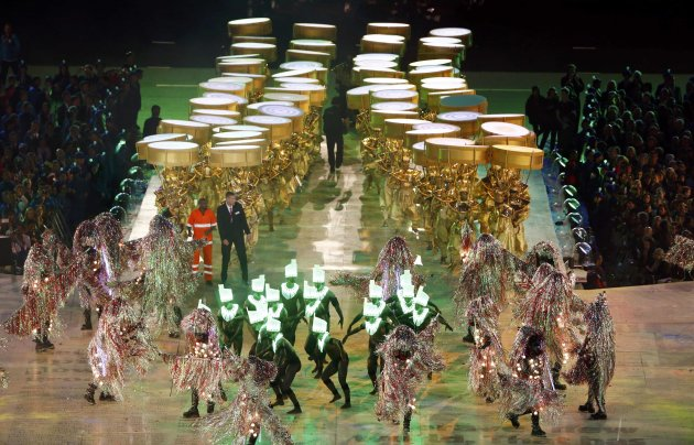 Performers take part in the closing ceremony of the London 2012 Olympic Games at the Olympic Stadium