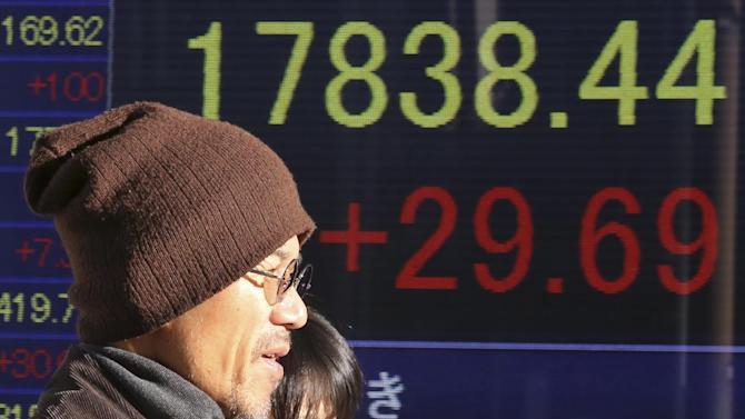 People walk by an electronic stock board of a securities firm in Tokyo Friday, Dec. 26, 2014, showing Japan's Nikkei 225 stock index that edged 29.69 points higher to 17,838.44. Shares were mostly higher in quiet trading Friday in Asia, as most markets in the region and across the globe were closed for Christmas holidays. China's Shanghai Composite Index extended gains in the second day of a rebound from this week's earlier sell-off. Nikkei rose 10.21 points or 0.06 percent and closed at 17,818.96 for the week. (AP Photo/Koji Sasahara)
