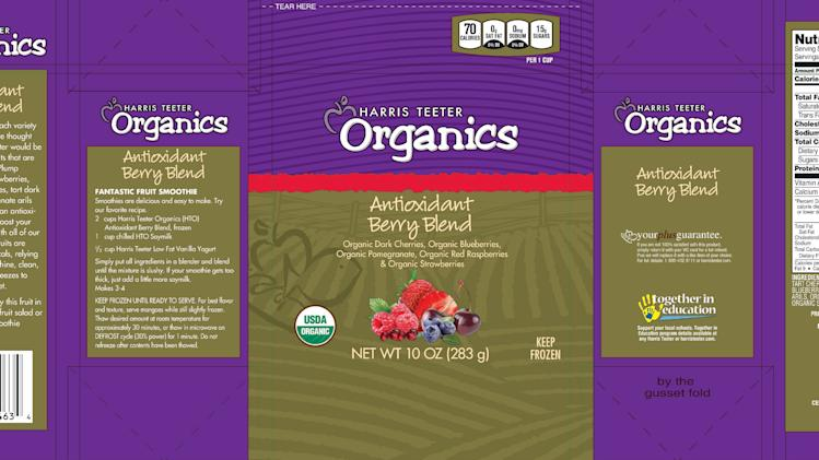 This handout image provided by the Food and Drug Administration (FDA) shows the label of Harris Teeter's Townsend Farms of Fairview, Ore., Organic Antioxidant Berry Blend, packaged under the Townsend Farms label at Costco and under the Harris Teeter brand at those stores. The Oregon company is recalling a frozen berry mix sold to Costco and Harris Teeter stores after the product was linked to at least 34 hepatitis A illnesses in five states. (AP/FDA)