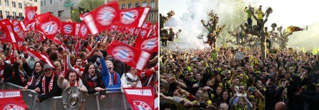 File photo of Borussia Dortmund and Bayern Munich fans