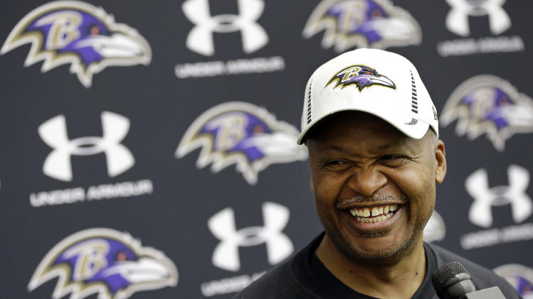 Baltimore Ravens offensive coordinator Jim Caldwell speaks at a news conference at the team's training facility in Owings Mills, Md., Friday, Jan. 25, 2013. The Ravens are scheduled to face the San Francisco 49ers in NFL football's Super Bowl XLVII in New Orleans on Sunday, Feb. 3. (AP Photo/Patrick Semansky)