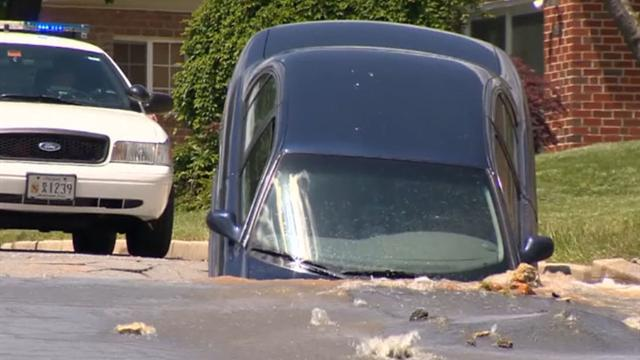 Sinkhole swallows car on Md. street