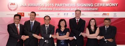 Key partners reaffirm support for JNA Awards 2015. (Pictured from left) Ye XuQuang, CEO of Guangdong Land Holdings Limited; Nissim Palomo, Chief Marketing Officer of Israel Diamond Institute; Kent Wong, Managing Director of Chow Tai Fook Jewellery Group; Letitia Chow, founder of JNA and Director of Business Development – Jewellery Group, UBM Asia; Wolfram Diener, Senior Vice-President of UBM Asia; Rita Maltez, Head of Rio Tinto Diamonds, Greater China and Nishit Parikh, director of Diarough Group