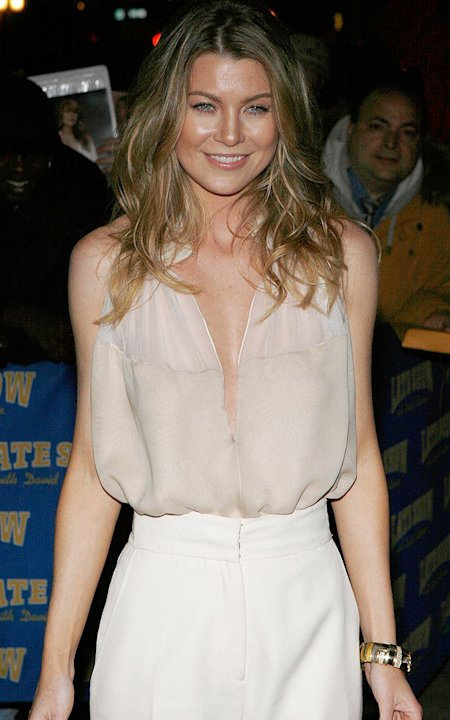 "Ellen Pompeo visits ""Late Show with David Letterman"" on March 31, 2008 at the Ed Sullivan Theater in New York City."