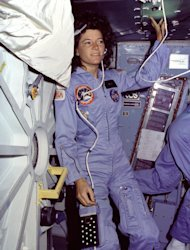 Astronaut Sally Ride is pictured on the space shuttle Challenger's middeck during the STS-7 mission.