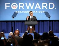 US President Barack Obama speaks on September 28, at a campaign fund raising event in Washington, DC. Obama has flown into Las Vegas for a final rally before heading into seclusion to shake off his mothballed debating skills for his first one-on-one clash with Mitt Romney