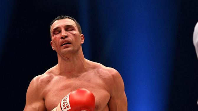 Wladimir Klitschko between rounds against Tyson Fury on November 28, 2015, when the Briton dethroned the Ukrainian in a 12-round decision to become world heavyweight champion