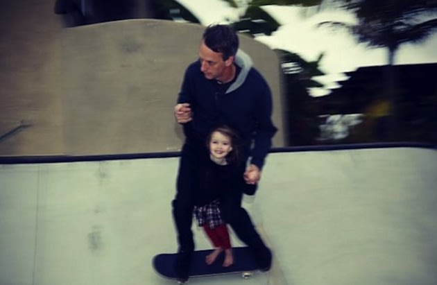 Tony Hawk and his 4-year-old daughter Kadence in Hawk's backyard &#x002014; Instagram