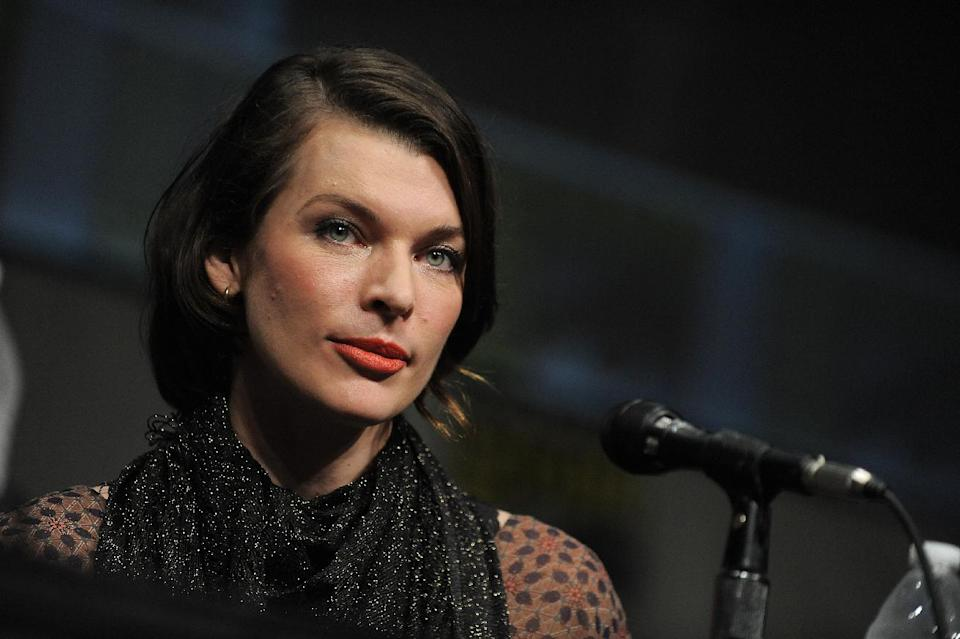 "CORRECTS DATE TO FRIDAY JULY 13 - Milla Jovovich attends the ""Resident Evil: Retribution"" panel at Comic-Con on Friday, July 13, 2012 in San Diego, Calif. (Photo by Jordan Straus/Invision/AP)"