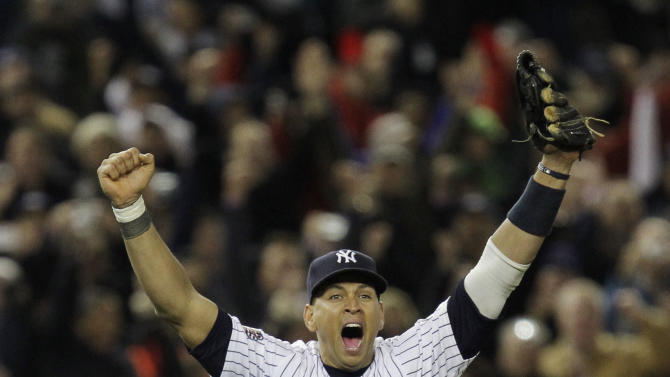 FILE - In this Nov. 4, 2009, file photo, New York Yankees' Alex Rodriguez celebrates after winning the Major League Baseball World Series against the Philadelphia Phillies in New York. Three MVP awards, 14 All-Star selections, two record-setting contracts and countless controversies later, A-Rod is the biggest and wealthiest target of an investigation into performance-enhancing drugs, with a decision from baseball Commissioner Bud Selig expected on Monday, Aug. 5, 2013. (AP Photo/David J. Phillip, File)