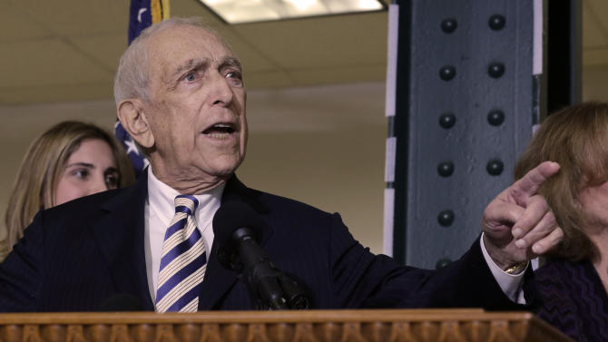 Sen. Frank Lautenberg, the oldest member of the U.S. Senate, tells a gathering Friday, Feb. 15, 2013, in his hometown of Paterson, N.J., that he plans to retire at the end of his current term. The 89-year-old says he'll fight for gun control, against global warming and press to ensure working families are not left behind. His decision eliminates a probable primary battle with Cory Booker, the charismatic mayor or Newark, and possibly others including Democratic Rep. Frank Pallone, who is also mulling a run. (AP Photo/Mel Evans)