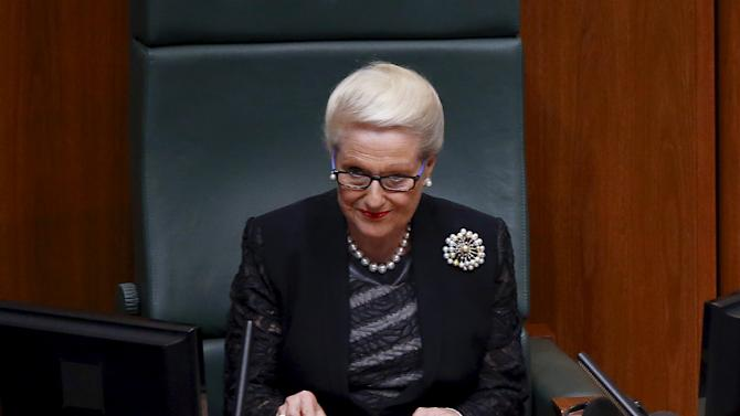 Speaker of the House of Representatives Bronwyn Bishop listens to a speech in Australia's Parliament House in Canberra