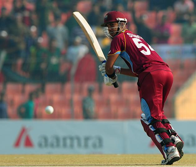 West Indies cricketer Lendl Simmons plays a shot during the first one day international cricket match between Bangladesh and The West Indies at The Sheikh Abu Naser Stadium in Khulna on November 30, 2