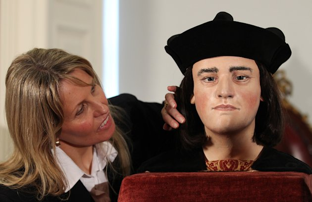 Philippa Langley, originator of the 'Looking for Richard III' project, looks at the facial reconstruction of Richard III, unveiled to the media at the Society of Antiquaries, London, Tuesday Feb. 5, 2