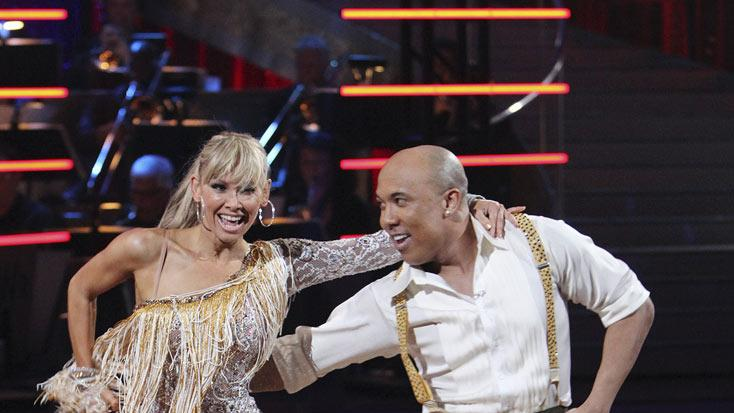 "Hines Ward and Kym Johnson perform the Cha-Cha-Cha on ""Dancing with the Stars."""