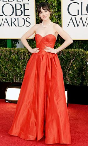 Zooey Deschanel Rocks Film Strip Manicure, Oscar de la Renta Gown at Golden Globes