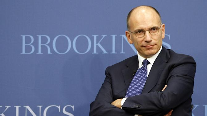 Prime Minister Enrico Letta of Italy, listens to a question during an event at the Brookings Institute, Thursday, Oct. 17, 2013, in Washington. The event is to discuss how Italy and Europe should move forward in this period of recovery following the economic crisis. (AP Photo/Alex Brandon)