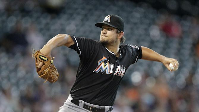 Hand, Mathis send Marlins to 2-0 win over Astros