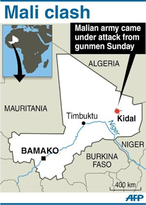 Graphic map showing Kidal in Mali on September 30,…