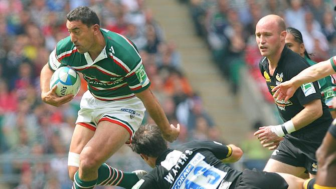 File photo of Daryl Gibson (L), seen in action as he plays for the Leicester Tigers, in London, in 2007