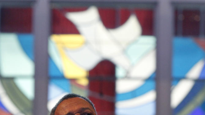 Rev. Fred Luter, pastor of the Franklin Ave. Baptist Church, delivers a sermon during Sunday Services at the Church in New Orleans, Sunday, June 3, 2012. The new face of a Christian denomination that formed on the wrong side of slavery before the Civil War could be an African-American preacher who grew up in New Orleans' Lower 9th Ward. The Southern Baptist Convention holds its annual meeting in New Orleans next week and it could see the election of Luter as president. Faced with growing diversity in America and declining membership in its churches, the denomination is making a sincere effort to distance itself from its troubled racial past. (AP Photo/Gerald Herbert)
