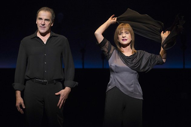 "In this theater image released by Boneau/Bryan-Brown, Mandy Patinkin, left, and Patti LuPone perform in ""An Evening with Patti LuPone and Mandy Patinkin"" at the Barrymore Theatre in New York. (AP Photo/Boneau/Bryan-Brown, Joan Marcus)"
