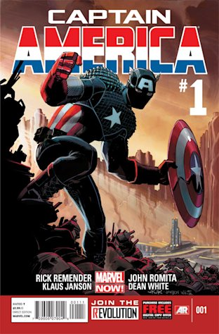 "This comic image released by Marvel Entertainment shows the cover of the upcoming ""Captain America,"" part of Marvel Comics' new initiative aimed at recharging the publisher's heroes and villains. (AP Photo/Marvel Entertainment)"