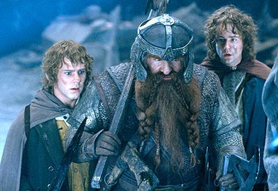 Dominic Monaghan as Merry, John Rhys-Davies as Gimli the dwarf and Billy Boyd as Pippin in New Line's The Lord of The Rings: The Fellowship of The Ring