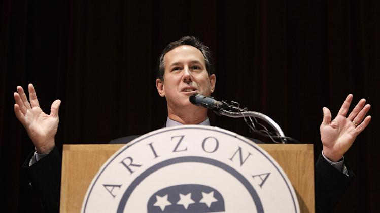Republican presidential candidate, former Pennsylvania Sen. Rick Santorum speaks at the Maricopa County Lincoln Day Luncheon, Tuesday, Feb. 21, 2012, in Phoenix, Arizona.  (AP Photo/Eric Gay)