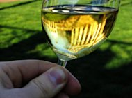 A glass of Chardonnay reflects reflects light.