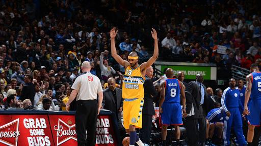 Nuggets win 14th straight, 101-100 over 76ers