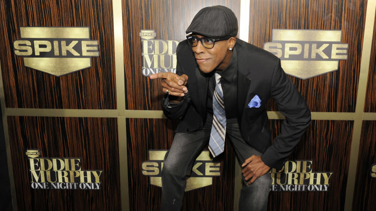 "Arsenio Hall poses at ""Eddie Murphy: One Night Only,"" a celebration of Murphy's career at the Saban Theater on Saturday, Nov. 3, 2012, in Beverly Hills, Calif. (Photo by Chris Pizzello/Invision)"