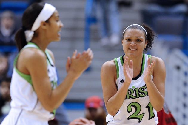 Notre Dame's Skylar Diggins and Kayla McBride react in the second half of an NCAA college basketball game against Louisville in the semifinals of the Big East Conference women's tournament in Hartford