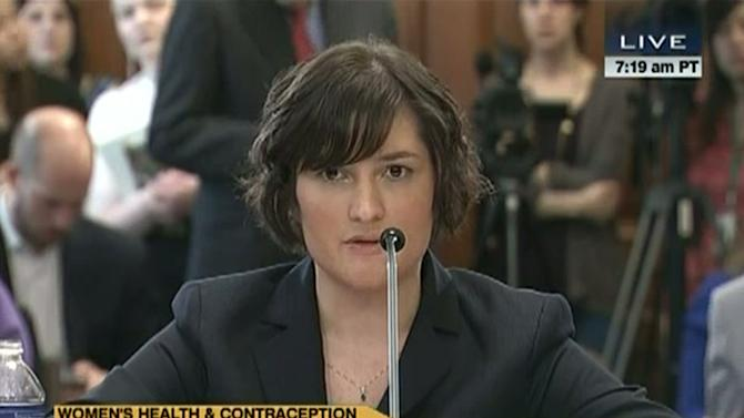 "In this image made from Thursday, Feb. 23, 2012 video provided by C-SPAN, Sandra Fluke, a third-year Georgetown University law student, testifies to Congress in Washington. Limbaugh drew fire Friday, March 2, 2012 from many directions for his depiction of Fluke as a ""slut"" because she testified before Congress about the need for contraceptive coverage. (AP Photo/C-SPAN)"