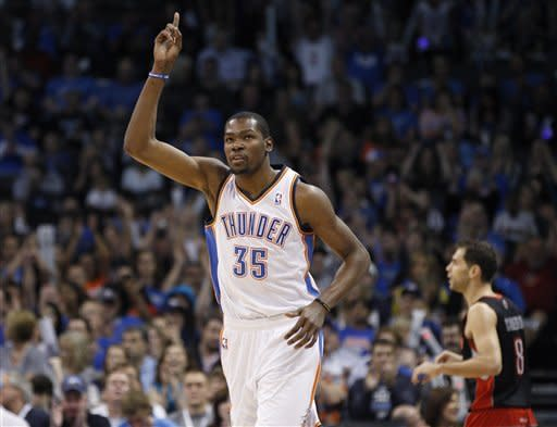 Durant scores 23 to lead Thunder past Raptors
