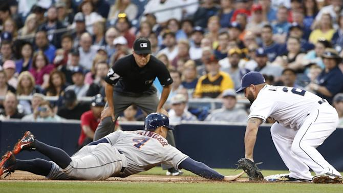 Houston Astros' George Springer (4) beats the pick off throw as San Diego Padres first baseman Yonder Alonso applies the tag in the first inning of a baseball game Monday, April 27, 2015 in San Diego. (AP Photo/Lenny Ignelzi)