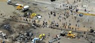 A picture released by the Syrian Arab News Agency shows an aerial view of the site of twin blasts in Damascus