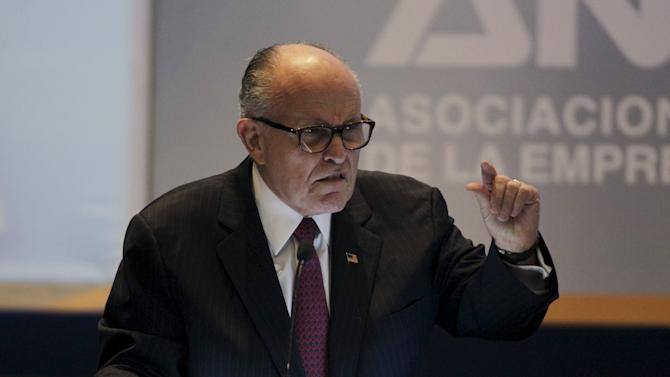 Former New York Mayor Rudolph Giuliani speaks during the National Meeting of Private Enterprise in San Salvador