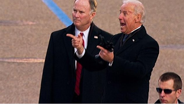 Biden hams it up on the inaugural …
