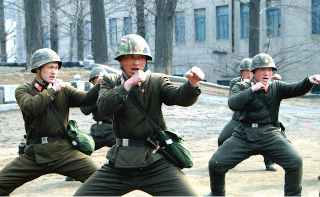 North Korean soldiers attend a military training