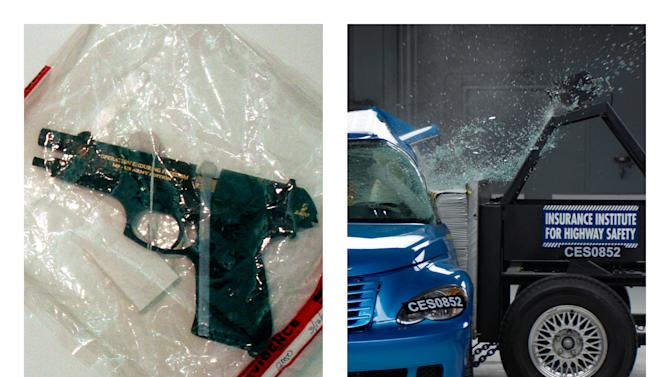 This combination of 2005 and undated file photos shows one of Charles A. McCoy Jr.'s guns included in evidence during his 2005 murder trial in Columbus, Ohio, left, and a side crash test on a 2008 PT Cruiser by the Insurance Institute for Highway Safety. Nearly as many Americans die from guns as from car crashes each year. We know plenty about the second group and little about the first. A lack of research on how to prevent gun violence has left policymakers shooting in the dark as they craft gun control measures without evidence of what works. (AP Photo/Tim Revell, Insurance Institute for Highway Safety)