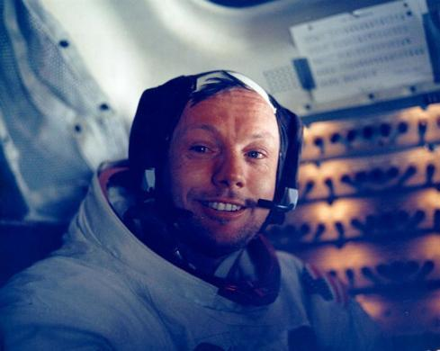 NASA handout photo of U.S. astronaut Neil Armstrong smiling in the lunar module after his historic moonwalk